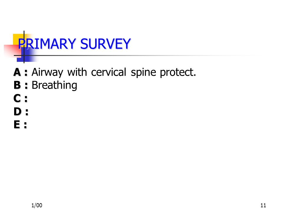 PRIMARY SURVEY A : Airway with cervical spine protect. B : Breathing