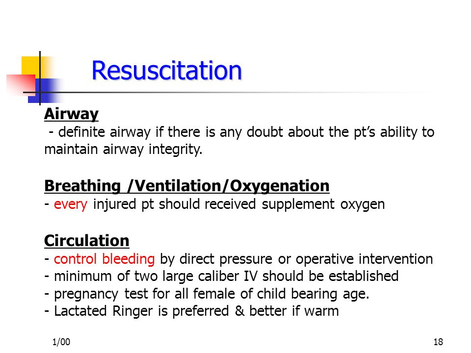 Resuscitation Airway Breathing /Ventilation/Oxygenation Circulation