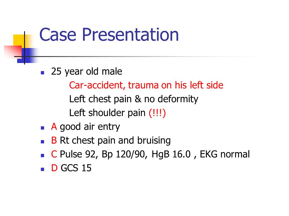 Case Presentation 25 year old male