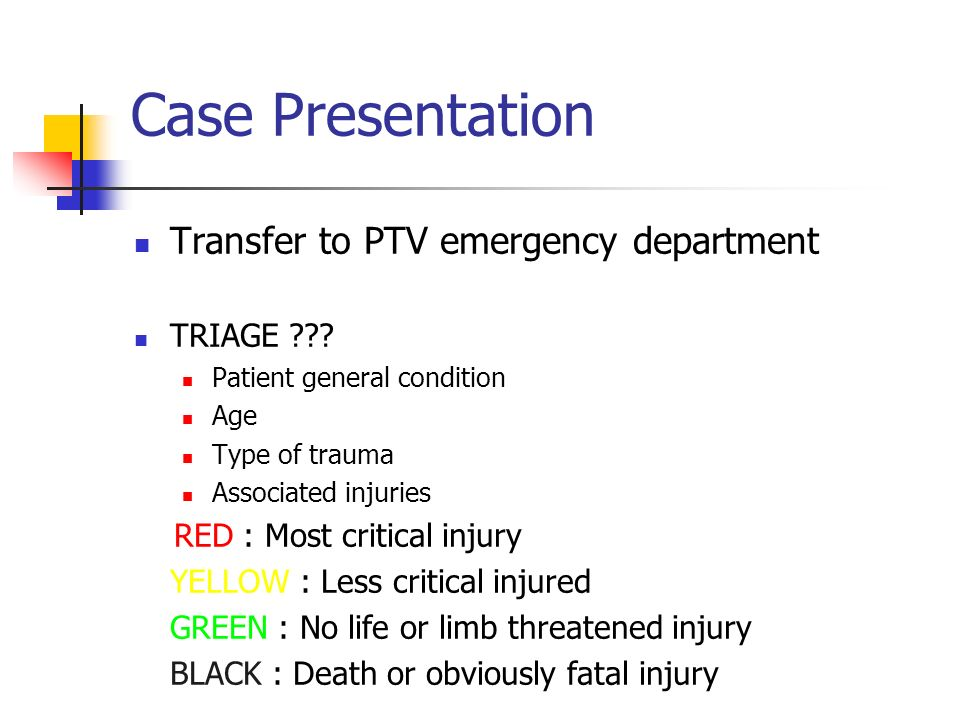 Case Presentation Transfer to PTV emergency department TRIAGE