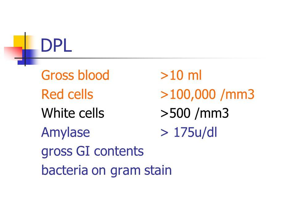 DPL Gross blood >10 ml Red cells >100,000 /mm3