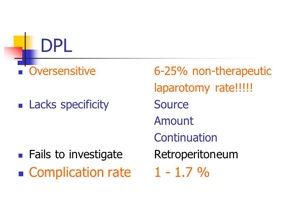 DPL Complication rate 1 - 1.7 % Oversensitive Lacks specificity
