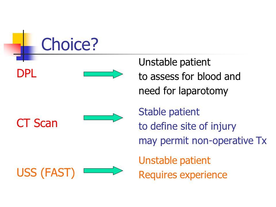 Choice DPL CT Scan USS (FAST) Unstable patient