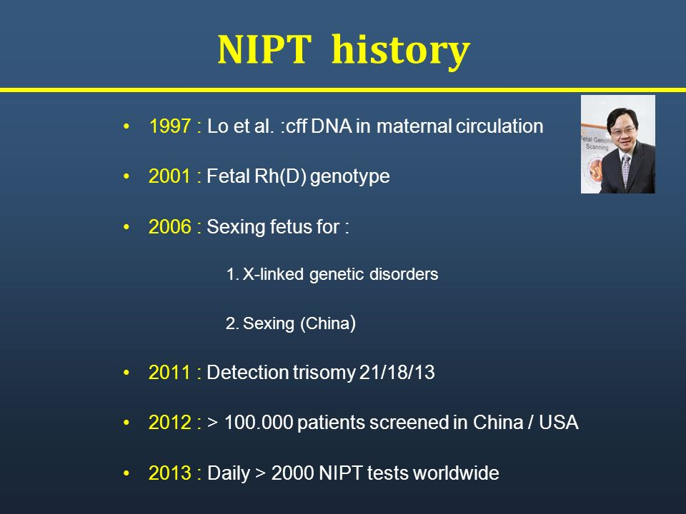 NIPT history 1997 : Lo et al. :cff DNA in maternal circulation
