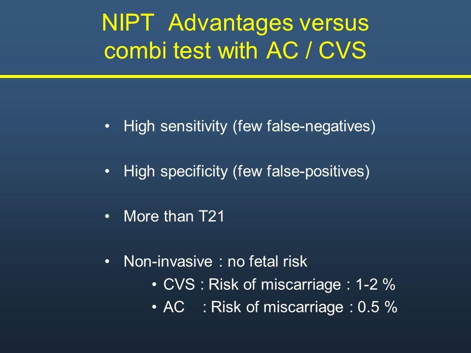 NIPT Advantages versus combi test with AC / CVS
