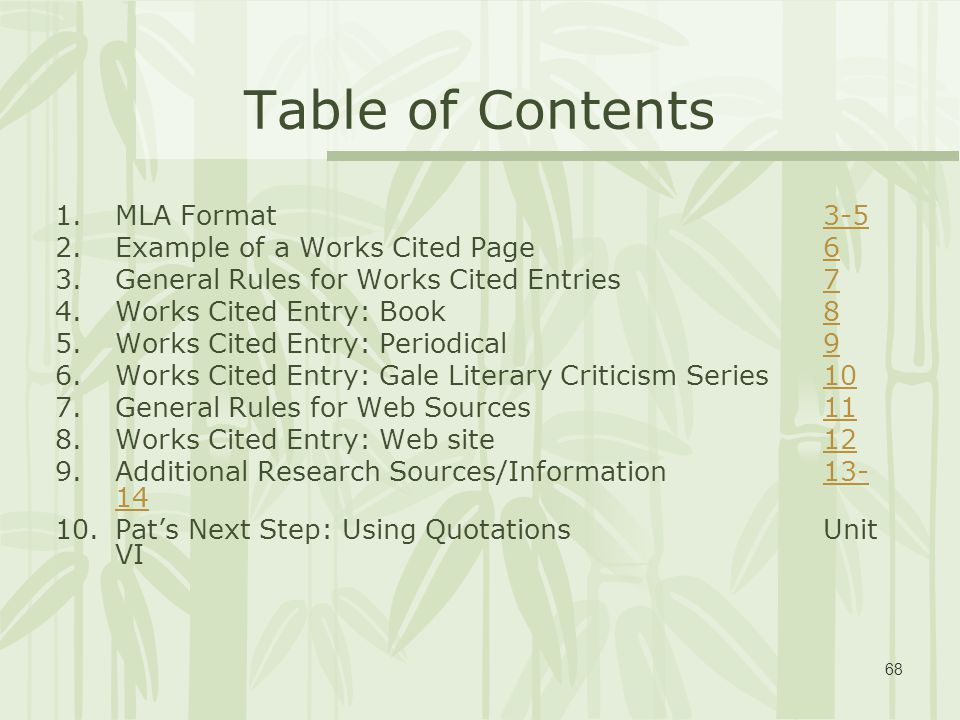 mla format table of contents example