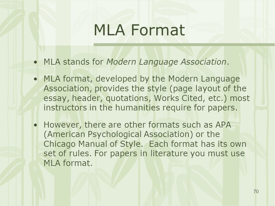 mla format for essays It is most regularly used for citing liberal arts and humanities works the mla format generally involves in-text references, endnotes, and footnotes moreover, when writing an mla style essay, you also need to add a title page and a bibliography section universal mla formatting style requirements when writing an mla style essay, you need to.
