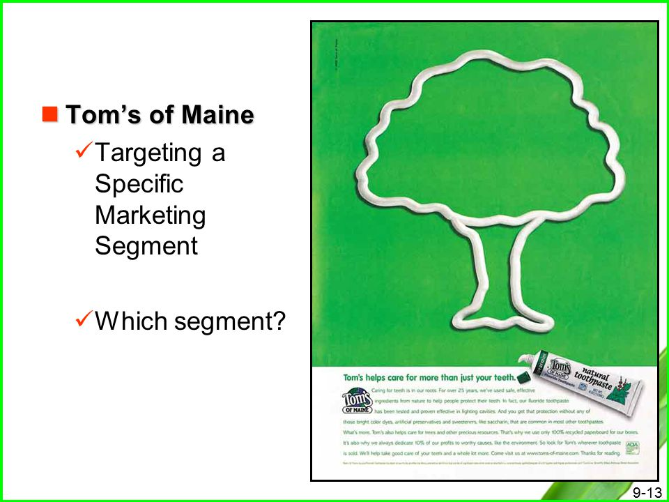 Tom's of Maine Targeting a Specific Marketing Segment Which segment