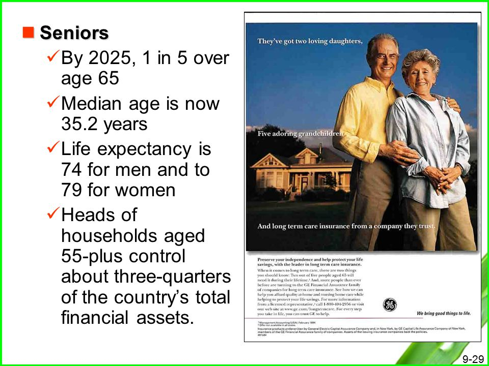 Seniors By 2025, 1 in 5 over age 65. Median age is now 35.2 years. Life expectancy is 74 for men and to 79 for women.