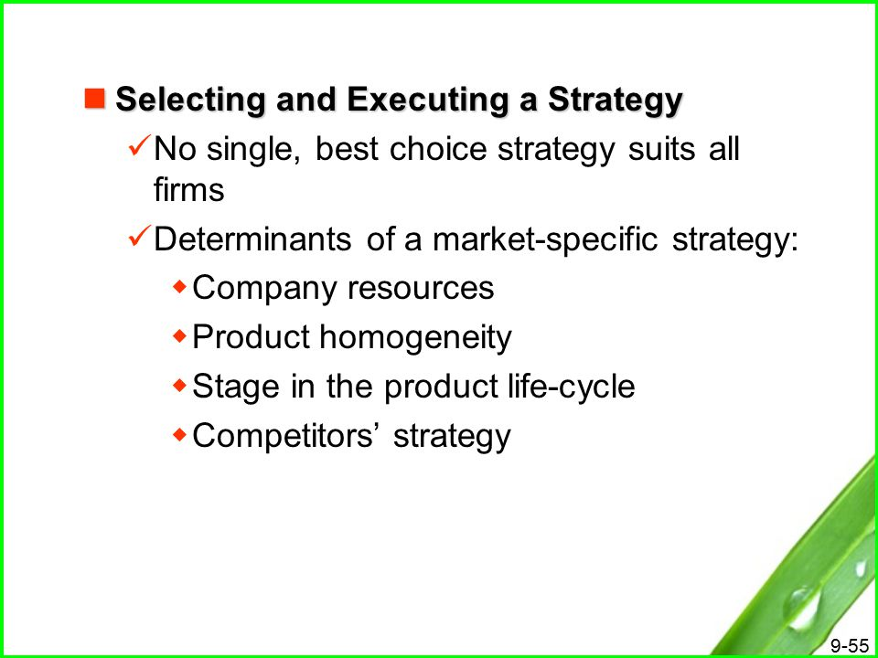 Selecting and Executing a Strategy