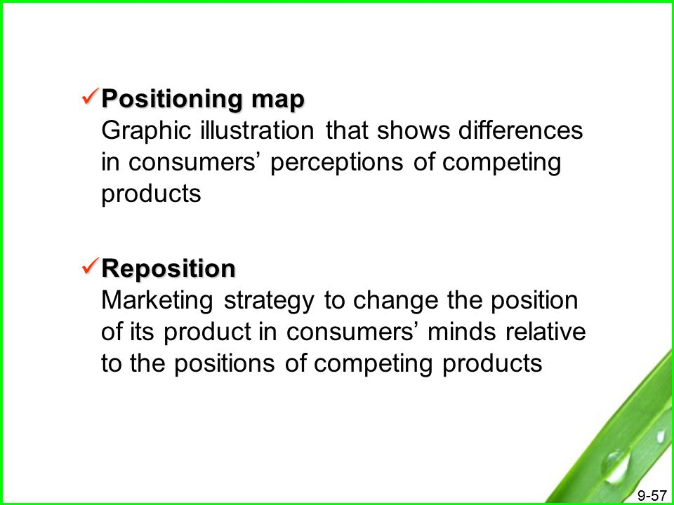 Positioning map Graphic illustration that shows differences in consumers' perceptions of competing products