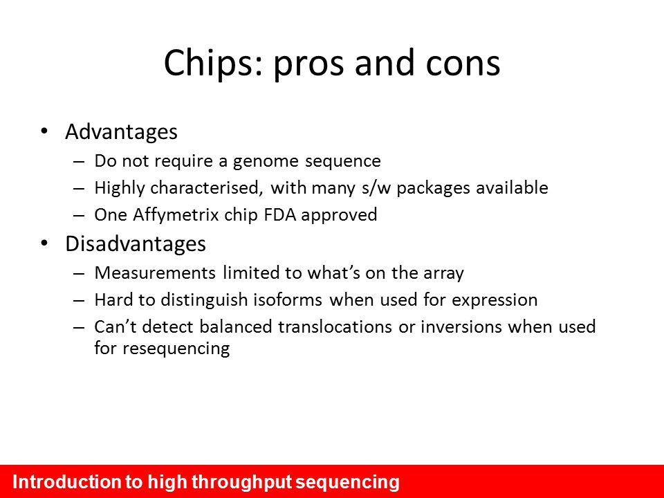 The advantages and disadvantages of the use of the v chip