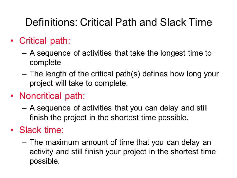 how to find critical path and slack time