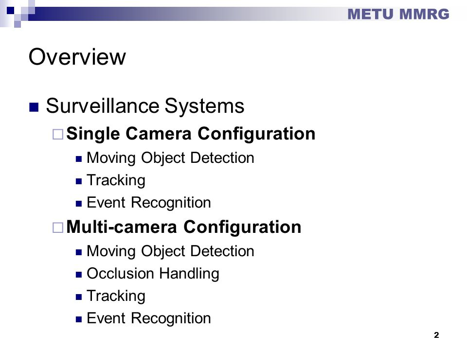 Overview Surveillance Systems Single Camera Configuration