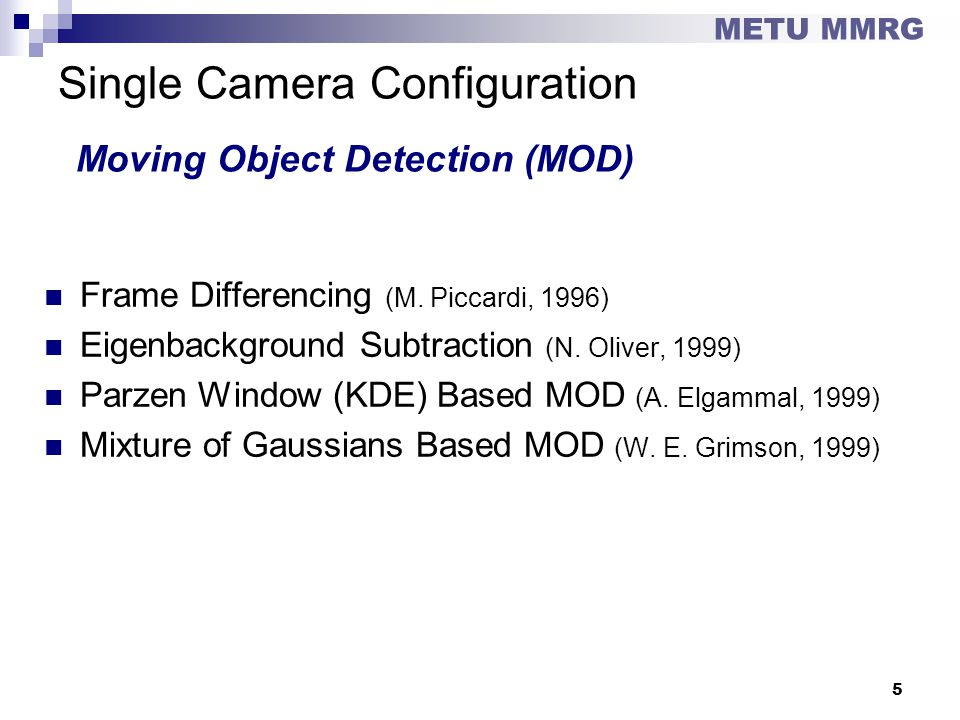 Single Camera Configuration Moving Object Detection (MOD)