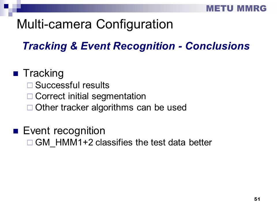 Multi-camera Configuration Tracking & Event Recognition - Conclusions