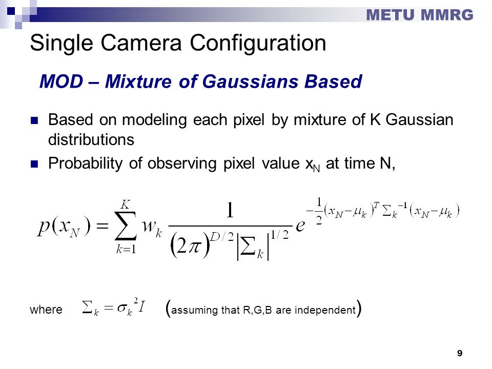 Single Camera Configuration MOD – Mixture of Gaussians Based