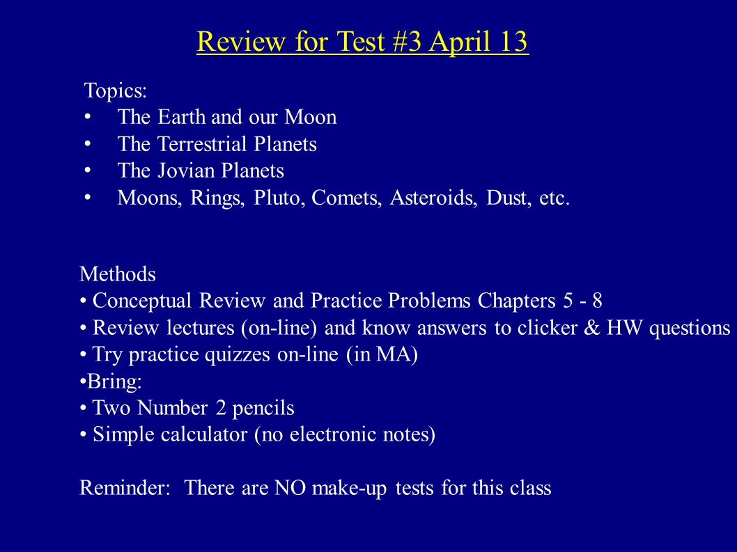 Review for Test #3 April 13 Topics: The Earth and our Moon - ppt ...