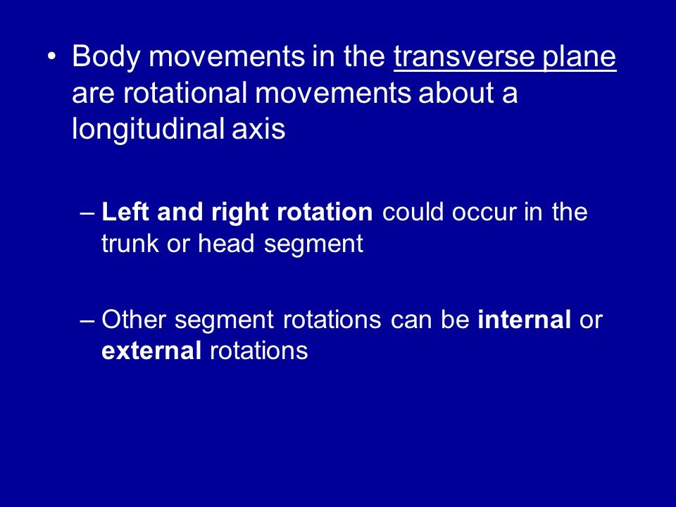Body movements in the transverse plane are rotational movements about a longitudinal axis