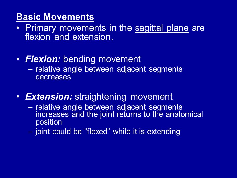 Primary movements in the sagittal plane are flexion and extension.