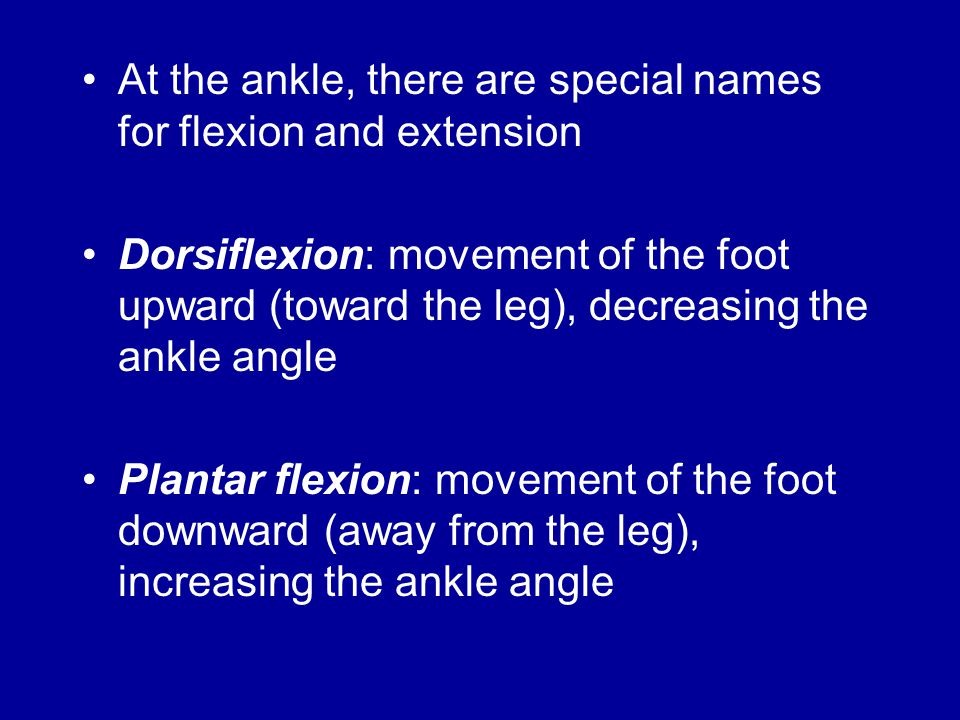 At the ankle, there are special names for flexion and extension