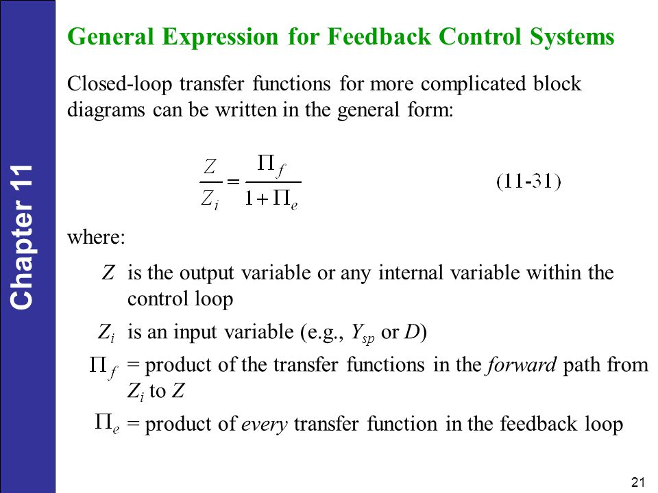 General Expression for Feedback Control Systems