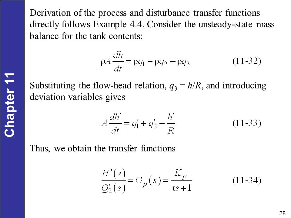 Derivation of the process and disturbance transfer functions directly follows Example 4.4. Consider the unsteady-state mass balance for the tank contents:
