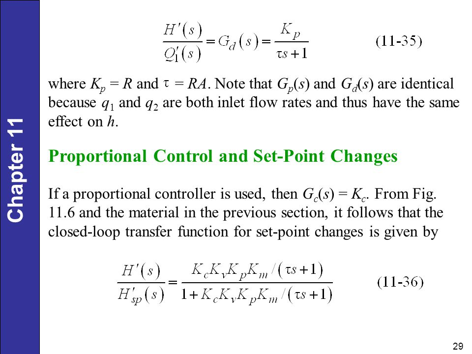Proportional Control and Set-Point Changes