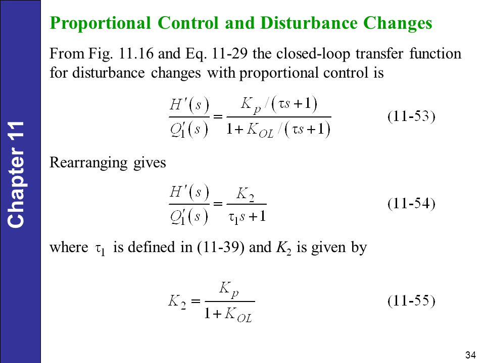 Proportional Control and Disturbance Changes
