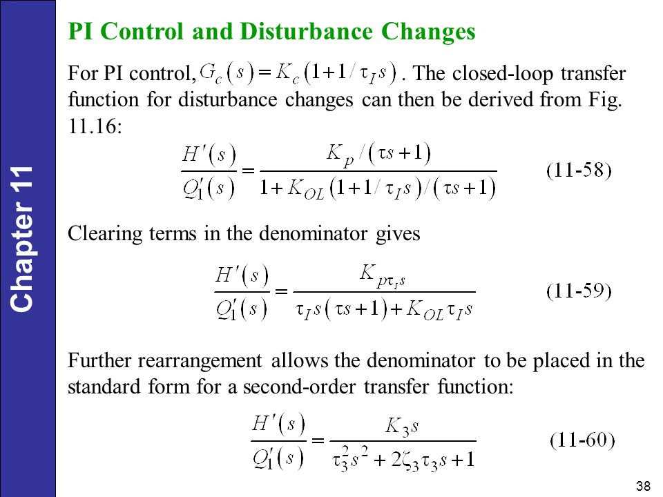 PI Control and Disturbance Changes