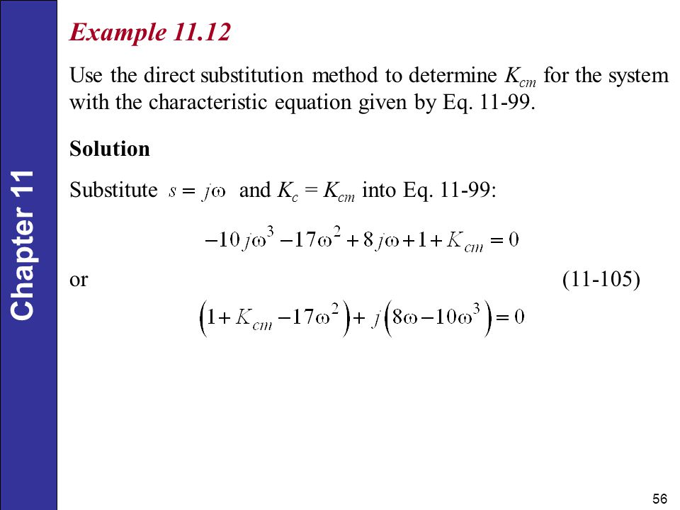 Example Use the direct substitution method to determine Kcm for the system with the characteristic equation given by Eq