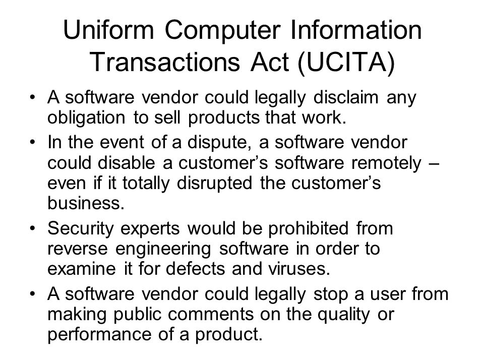 uniform computer information transactions act ucita essay Assignment detail busn150-1101a-135 legal and ethical environment of business assignment (answer attached) assignment detail busn150-1101a-135 legal and ethical environment of business assignment name: unit 4 individual project deliverable length: 1-2 pages details: after more than 10 years of proposals, revisions, and re.
