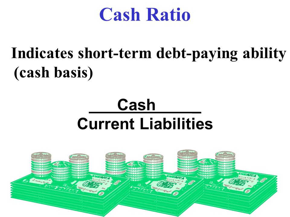 Cash Ratio Indicates short-term debt-paying ability (cash basis)