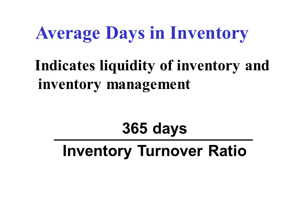 Average Days in Inventory Inventory Turnover Ratio
