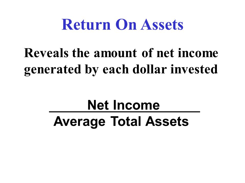 Return On Assets Net Income Average Total Assets