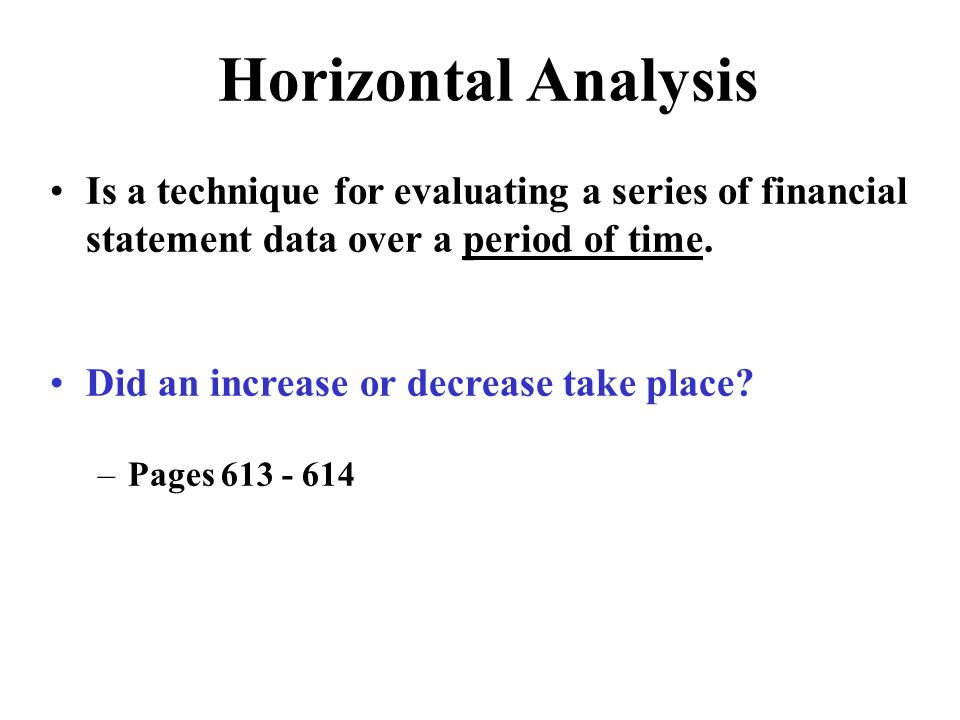 Horizontal Analysis Is a technique for evaluating a series of financial statement data over a period of time.