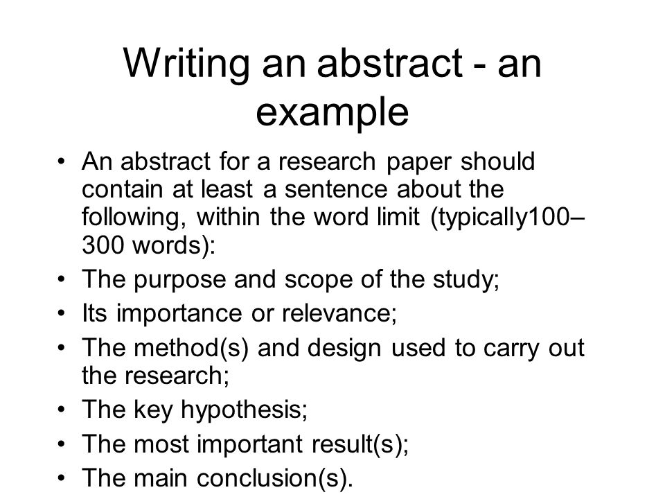 Writing a research paper abstract