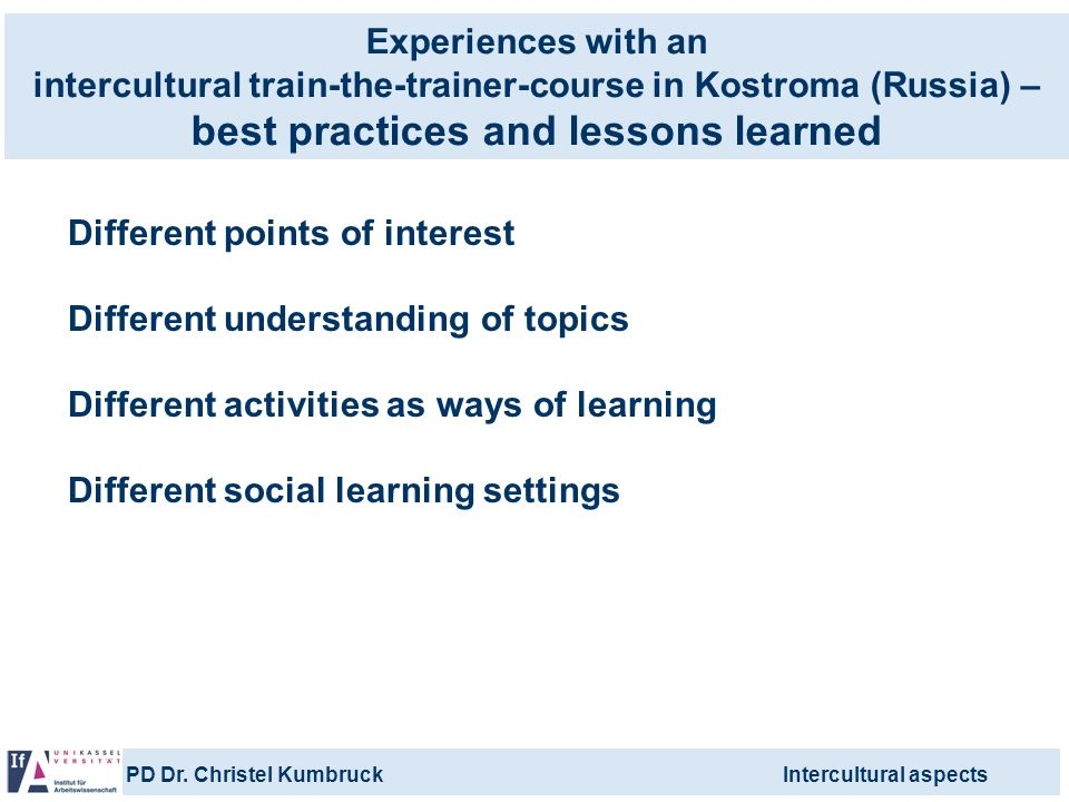 Experiences with an intercultural train-the-trainer-course in Kostroma (Russia) – best practices and lessons learned