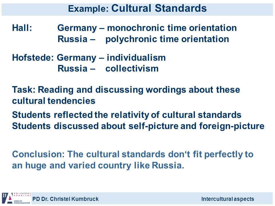 Example: Cultural Standards