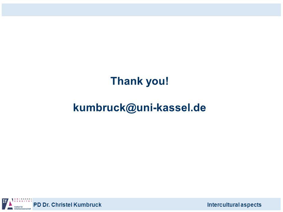 Thank you! kumbruck@uni-kassel.de