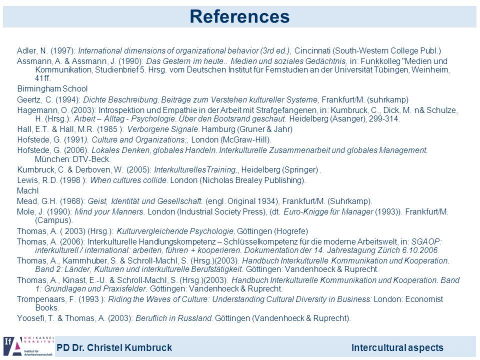 References Adler, N. (1997): International dimensions of organizational behavior (3rd ed.), Cincinnati (South-Western College Publ.)