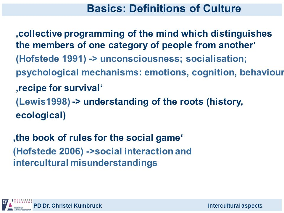 Basics: Definitions of Culture