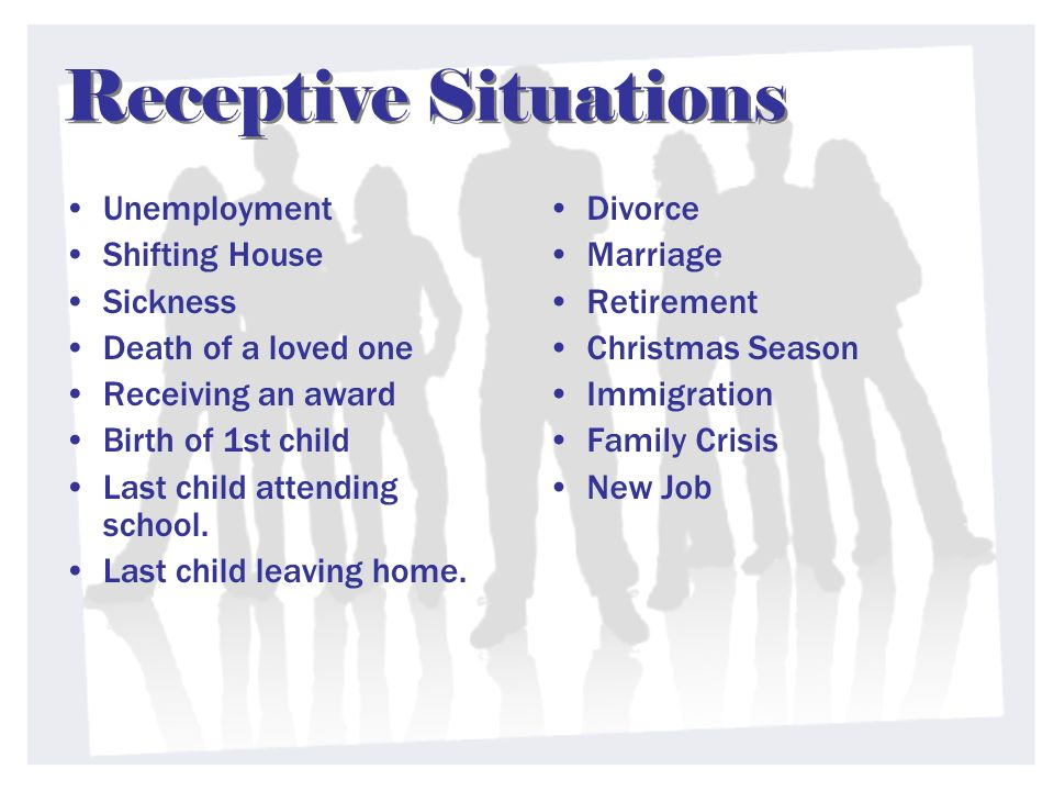 Receptive Situations Unemployment Shifting House Sickness