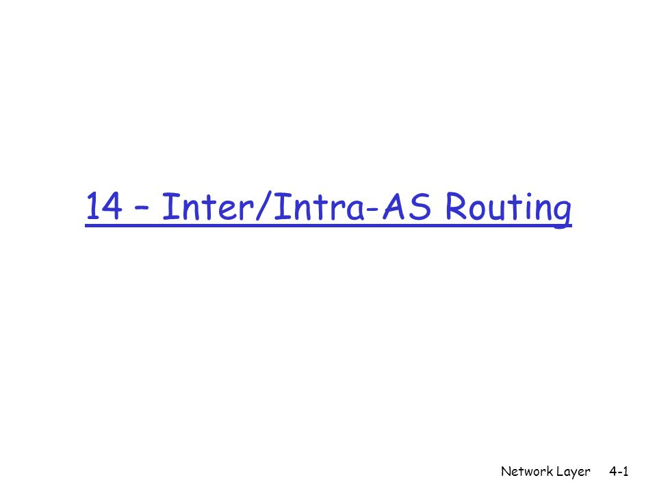 14 – Inter/Intra-AS Routing