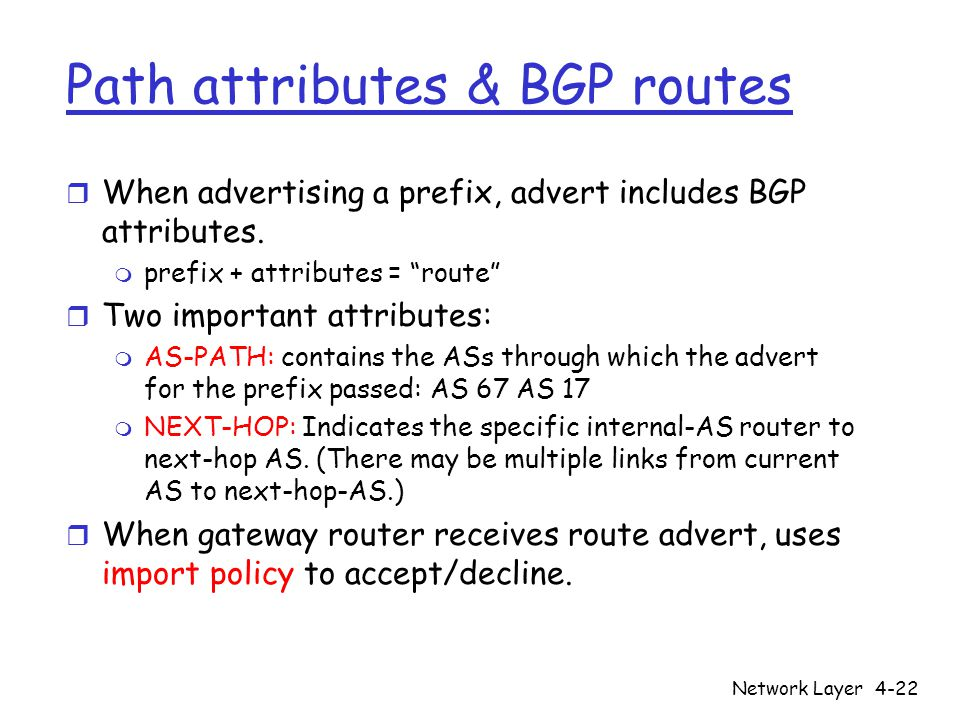 Path attributes & BGP routes