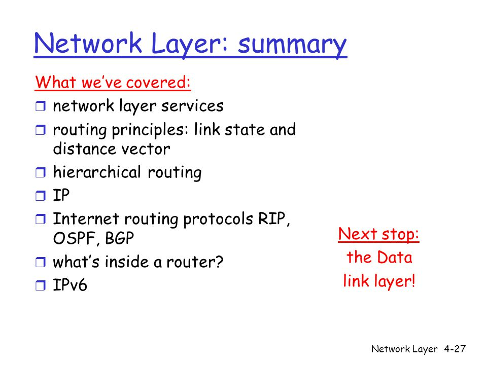 Network Layer: summary