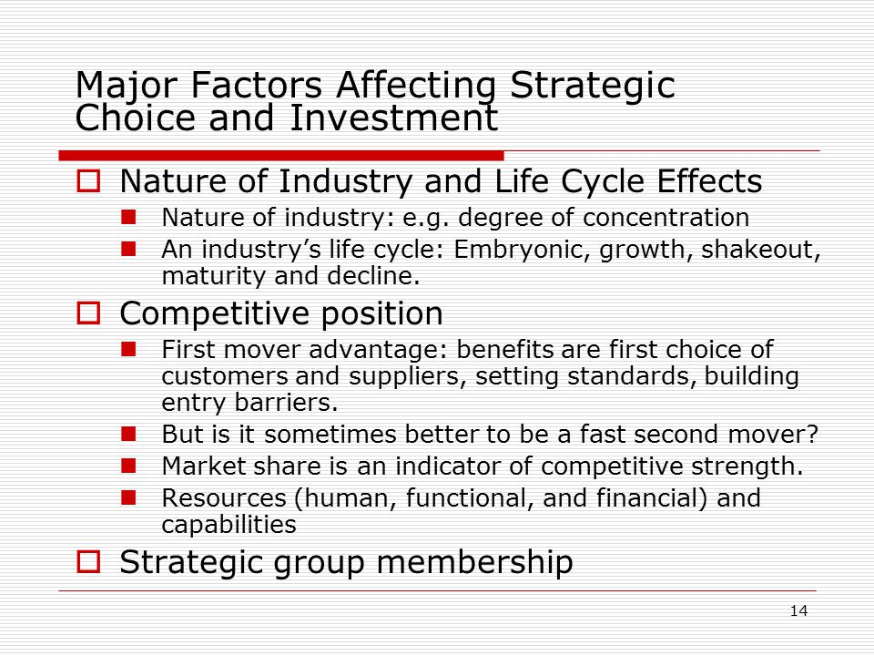 the factors affecting internal strategic choices Process of strategic choice & role and subjective factor   once you have  conducted the external and internal analyses the different alternatives available  to you  a dominant ceo is able to affect strategic choice a decisively.