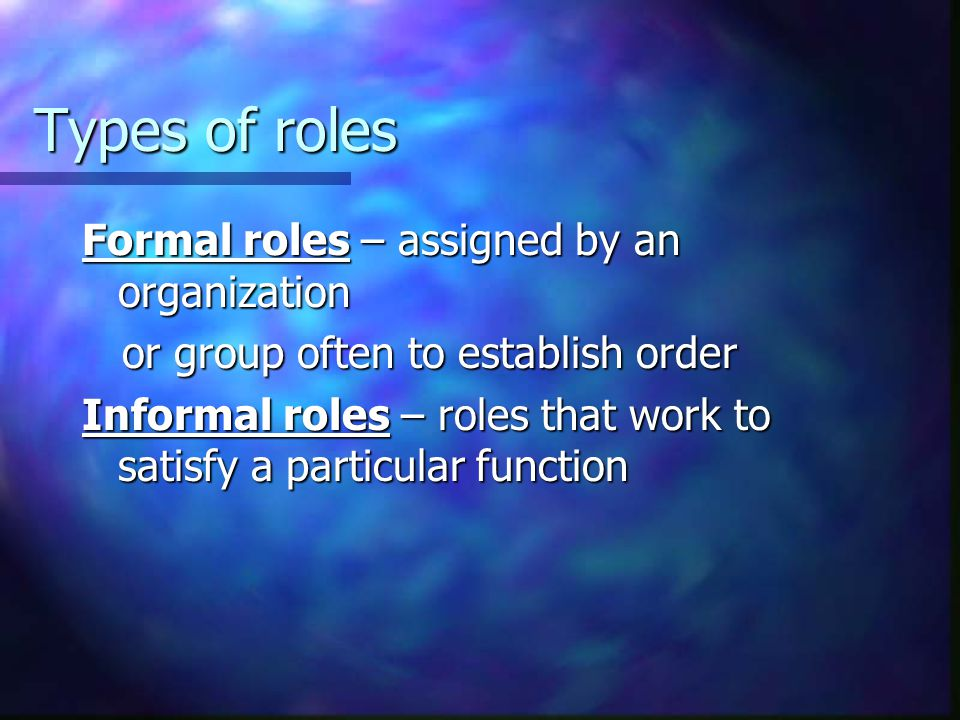 Types of roles Formal roles – assigned by an organization
