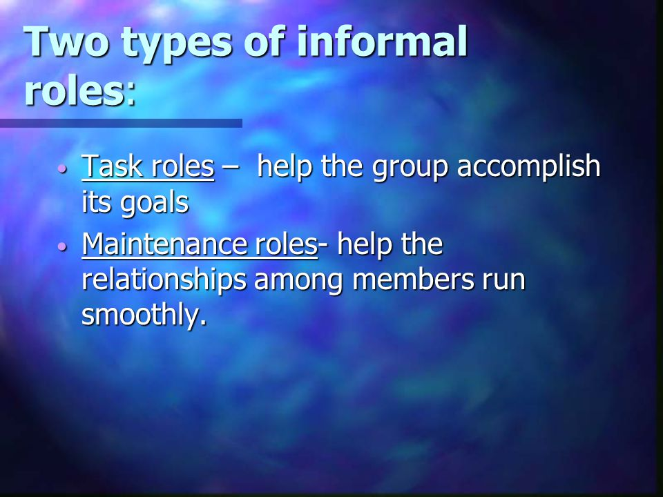 Two types of informal roles: