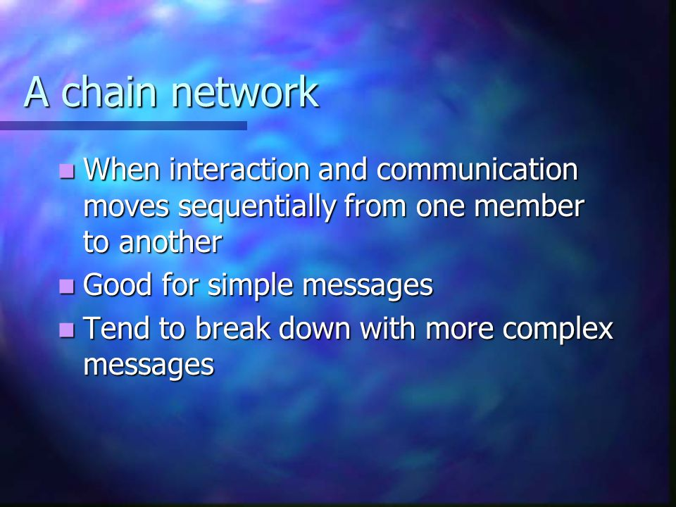 A chain network When interaction and communication moves sequentially from one member to another. Good for simple messages.